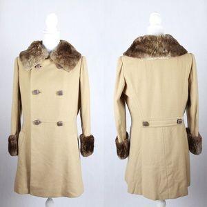 Vintage Tan Camel Hair Faux Fur Mid Length Coat
